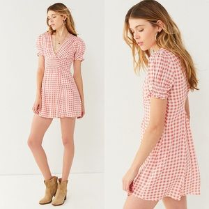 Urban Outfitters Molly Smocked Gingham Mini Dress
